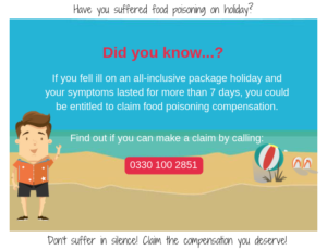 Suffered food poisoning on holiday? Call 0330 100 2851